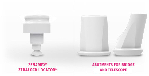 System image of a ZERAMEX® ZERALOCK™ Locator® and abutments for bridge and telescope in white ceramic