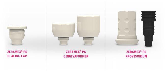 ZERAMEX® P6 gingivaformer, provisional and healing cap